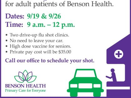 Drive-Up Flu Shot Clinic on September 19 & 26